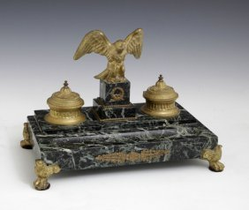 French Empire Style Gilt Bronze And Verde Antico Marble