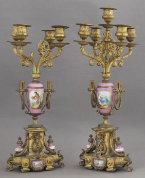 Pair Of Sevres Style Gilt Spelter Five Light