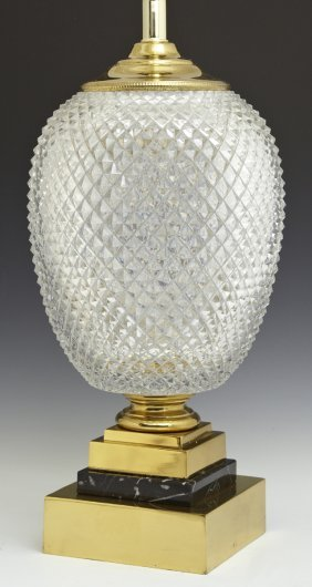 Contemporary Cut Crystal Brass And Marble Table Lamp,