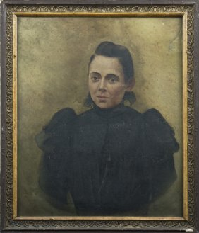 "French School, ""portrait Of A Woman In A Black Dress,"""