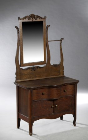 American Victorian Carved Oak Washstand, C. 1900, The