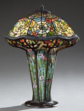"Tiffany Style Leaded Glass ""cobweb"" Lamp Shade, Late"