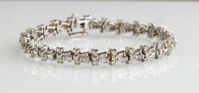 14k White Gold Diamond Link Bracelet, With 24 Graduated