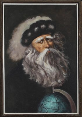 """S. Naval, """"portrait Of A Bearded Gentleman With A World"""