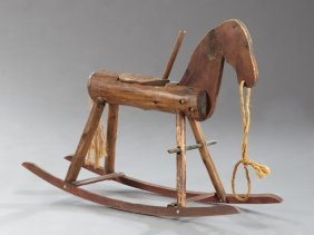 American Primitive Pine Rocking Horse, Early 20th C.,