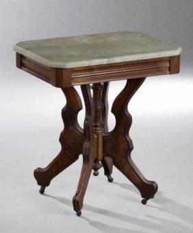 American Eastlake Carved Walnut Marble Top Lamp Table,
