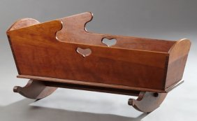 Victorian Carved Cherry Baby's Cradle, 19th C., The
