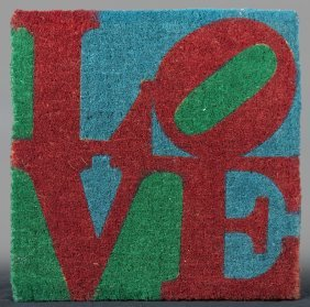 "Robert Indiana (1928- ), ""love,"" 20th C., Woven Sisal"