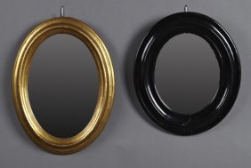 Two French Oval Mirrors, 19th C., One Gilt And One