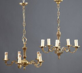 Two French Louis Xv Style Brass Five Light Chandeliers,