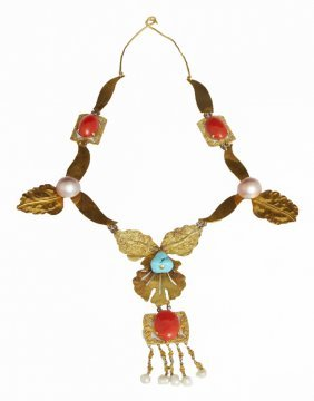 "Unusual 14k Yellow Gold ""leaf"" Bib Necklace, C. 1980,"