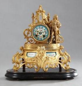 Gilt Spelter And Porcelain Figural Mantel Clock, 19th