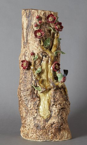 Large Ceramic Vase, 20th C., Of Tree Trunk Form, With