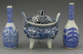Group Of Three Japanese Blue And White Porcelain