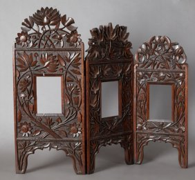 Anglo-indian Carved Mahogany Three Graduated Panel