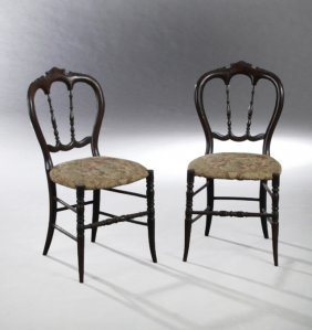 Pair Of English Victorian Carved Birch Balloon Back