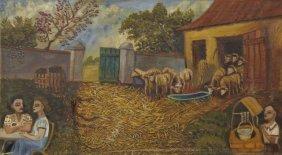 "Myron Lechay (1898-1972, New Orleans), ""barnyard Scene"