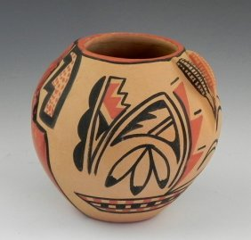 Native American Painted Pottery Bowl, 20th C., By C.