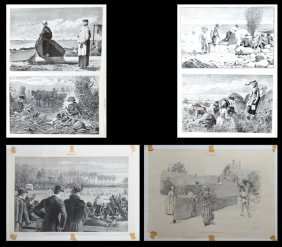 Group Of Nineteen Harper's Weekly Prints, 19th C., Most