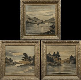 """Chinese School, """"river Scenes,"""" 20th C., Group Of Three"""