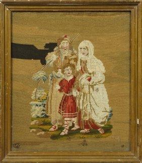 English Needlework Panel, C. 1860, Depicting The Holy
