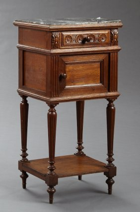 French Louis Philippe Style Carved Oak Marble Top