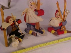 Lot Of 3 Early Possible Snow Skiing Dolls
