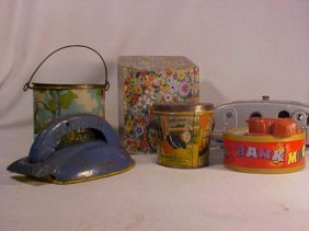Lot Of 6 Early Misc. Tin Toys