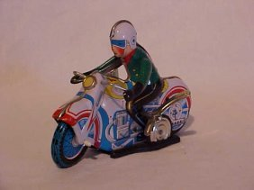 Tin Litho Wind Up Motorcycle Racer Toy