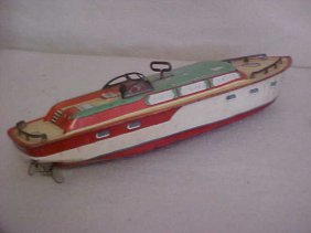 "J Chein Tin Litho ""Princess Pat"" Wind Up Boat"