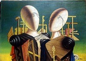 Lovers 1960' - Oil Painting - Giorgio De Chirico