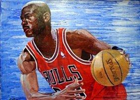 Michael Jordan - Oil Painting By Michael Blatt
