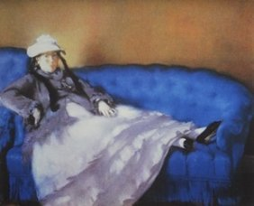 Lithograph Madame Manet On A Blue Sofa - Edouard Manet