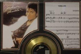 Custom Framed Michael Jackson Memorabilia W/ Gold Plt.