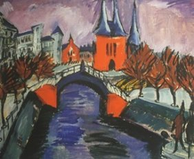 Lithograph The Red Tower In Halle - Ernst L. Kirchner