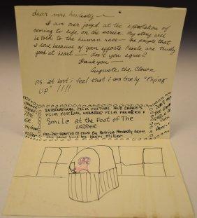 Marcel Marceau Original Letter/drawing