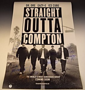 Straight Outta Compton Cast Signed Premiere Poster