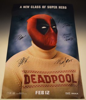 Deadpool Premiere Cast Signed Movie Poster