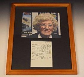 Millvena Dean Titanic Survivor Letter