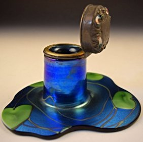 Tiffany Favrile Glass Inkwell