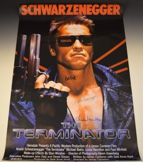 Terminator Cast Signed Movie Poster