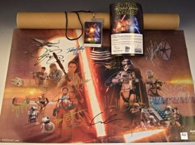 Star Wars Cast Signed World Premiere Movie Poster