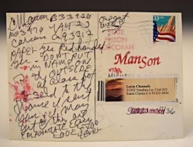 Charles Manson Signed Postcard