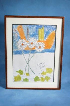 "Lee Godie ""Daises"". Paint On Paper. 22 X 29 �Proven"