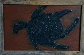 "Clyde Jones ""Turtle"" Mixed Media On Plywood. 24 X 3"