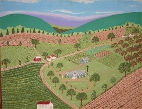 """James T Rexrode-Outsider Art-""""Farm Scene"""". Paint On"""