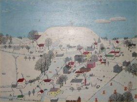 "Paul Patton-Outsider Art-""Untitled"". Acrylic On Boar"