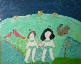 """Hazel Kinney-Outsider Art-""""Garden On Eden"""". Paint O"""