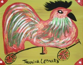 "Juanita Leonard-Outsider Art-""Rooster"" Paint On Can"