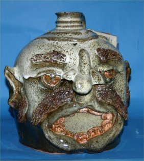 "Josh Boock-Outsider Art-""Face Jug"" Glazed And Fired"